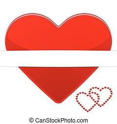 Red heart on a white background card