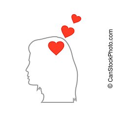 red heart symbol in human head