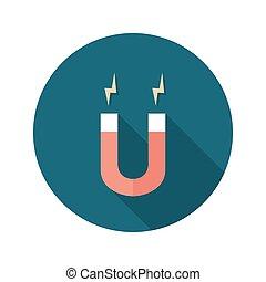 Red Magnet circle flat icon