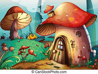 mushroom house - illustration of red mushroom house on a...