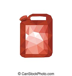 Illustration of red origami oil canister