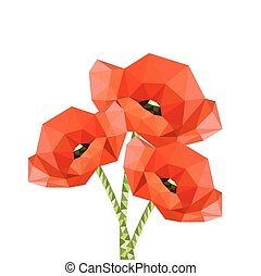 Illustration of red origami poppies