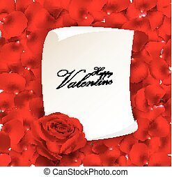 Red rose with blank paper for text