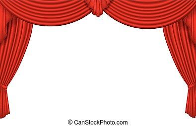 Red silk curtain