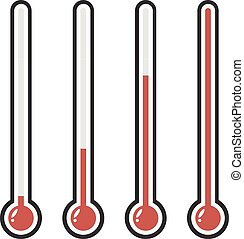 illustration of red thermometers with different levels