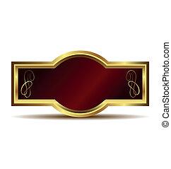 Illustration of red velvet in a gold frame label isolated on white background - vector