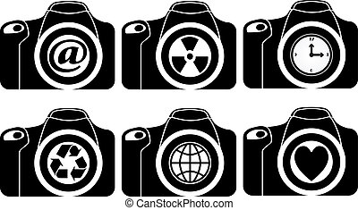 illustration of reflex with symbols on lens