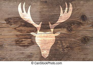 Illustration of reindeer on wooden background