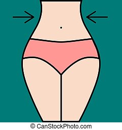 Illustration of remove ribs. Girl with slim waist. Fat loss. Vector graphics.