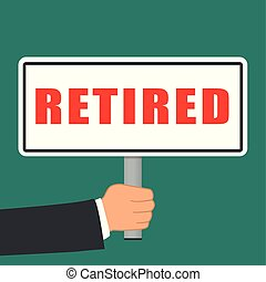 retired word sign flat concept