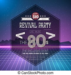 Retro 1980s Revival Vintage Party Poster Neon Flyer Background m