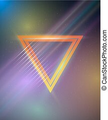 Retro Disco 80s Neon Poster made in Tron style with Triangles, F
