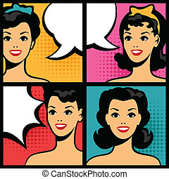 Illustration of retro girls in pop art style.