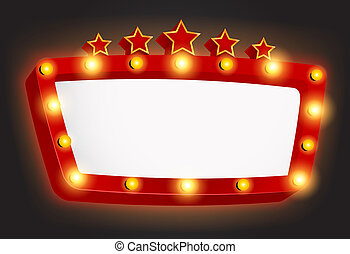 Retro light frame banner with star