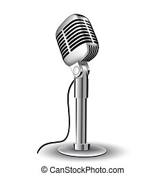 retro mic - illustration of retro mic on white background