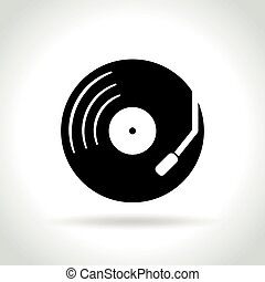 retro music icon on white background