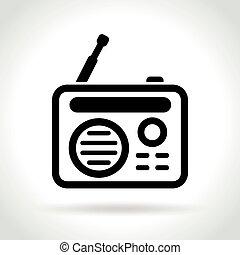 retro radio icon on white background