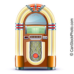 classic juke box - illustration of retro style detailed...