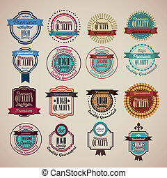 Premium Labels - illustration of retro vintage label, ...