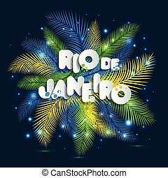 Illustration of Rio de Janeiro from Brazil vacation on color background, colors of the Brazilian flag, Brazil Carnival.