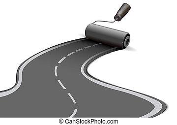 road roller - illustration of road roller on white...