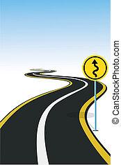 illustration of road sign pole beside highway