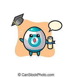 Illustration of rocket cartoon throwing the hat at graduation