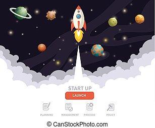 Illustration of rocket flying above clouds
