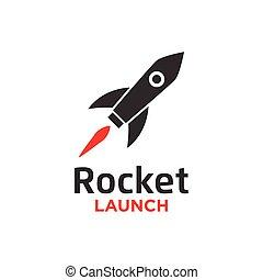 Illustration of rocket launch logo design template