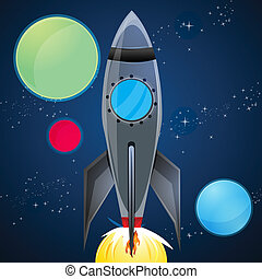 rocket launcher in sky - illustration of rocket launcher in...