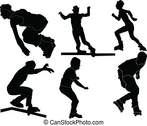 roller skaters collection - vector