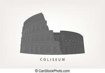 Roman Colosseum isolated on white background