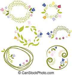 Illustration of romantic set labels with flowers. Vector
