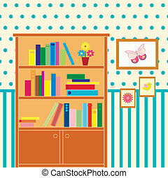 room with bookcase - illustration of room with bookcase