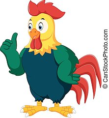 Rooster cartoon giving thumb up