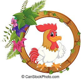 Rooster on round wood frame with flower
