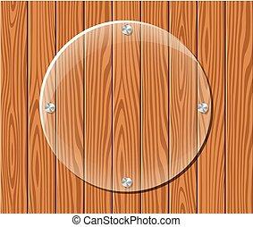 round acrylic frame on wood background - Illustration of ...