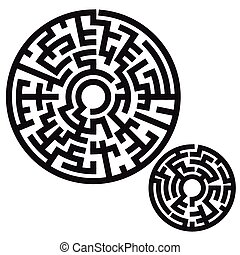 illustration of round maze isolated on white background