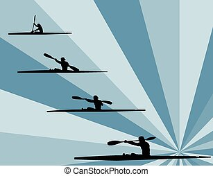 illustration of rowing with background - vector