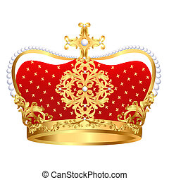 Royal gold crown with ornament and pearls