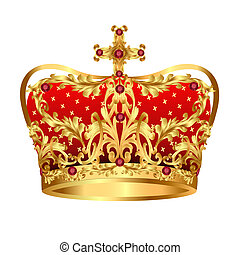 Royal gold crown with red precious stones - illustration of...