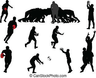 rugby player collection - vector - illustration of rugby...