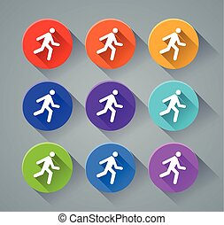 run icons with various colors