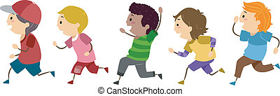 Running Boys - Illustration of Running Boys