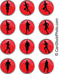 running people in button - vector