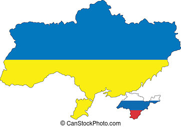 illustration of russian crimea and ukraine with flag colors