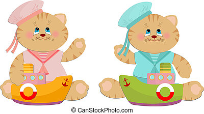 Illustration of sailor cats toys