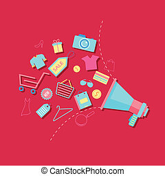 illustration of Sale Announcement with shopping icons coming out of megaphone