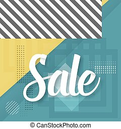 Sale Paper Lettering Template. Modern Sale Lettering on Trendy 90s Style Geometric Background