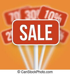 Sale Sign with a Discount Blurred Vector Sale Signs